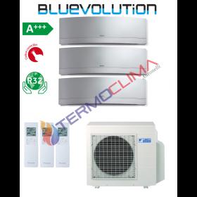 CLIMATIZZATORE CONDIZIONATORE DAIKIN TRIAL SPLIT INVERTER serie EMURA SILVER WiFi R-32 Bluevolution 9+9+12 FTXJ25MS FTXJ35MS con 3MXM68M