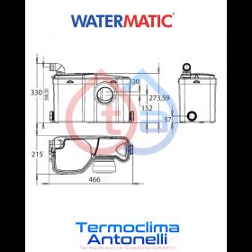 POMPA TRITURATORE ALTE PRESTAZIONI PER BAGNO 2 ENTRATE [WC + LAVABO] WATERMATIC W12P