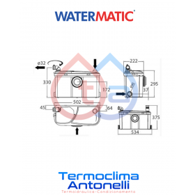 POMPA TRITURATORE ALTE PRESTAZIONI PER BAGNO COMPLETO 4 ENTRATE [WC + LAVABO + DOCCIA + BIDET] WATERMATIC W17P