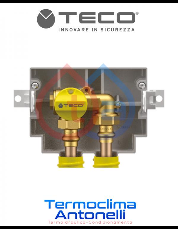 """RUBINETTO DI INTERCETTAZIONE GAS DA INCASSO A """"U"""" 3/4"""" 3/4"""" TECO K2.1 K201BC10100"""