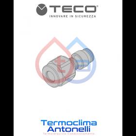 "RACCORDO GAS A STRINGERE PER TUBO RAME EN 1254-2 CASSETTA INCASSO GAS TECO  3/4"" ø14mm K0CR1401"