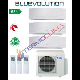 CLIMATIZZATORE CONDIZIONATORE DAIKIN TRIAL SPLIT INVERTER serie EMURA WHITE WiFi R-32 Bluevolution 7+7+9 FTXJ20MW FTXJ25MW con 3MXM52M